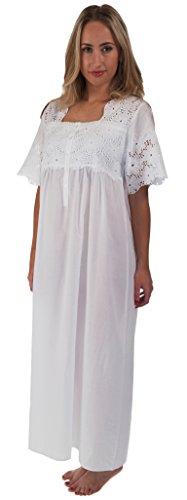 The 1 for U 100% Baumwolle Kurzarm Nachthemd 6 Größen - Elizabeth - Weiß, Weiß, XL