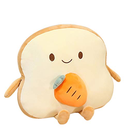 Cute Throw Pillows,Tini Toast Bread Pillow Waist Pillows Cute Cushion Pillow Toy Cartoon Plush Toy Bread Slice Pillow for Children Adult Gift Home Bedroom Decoration (Carrot)