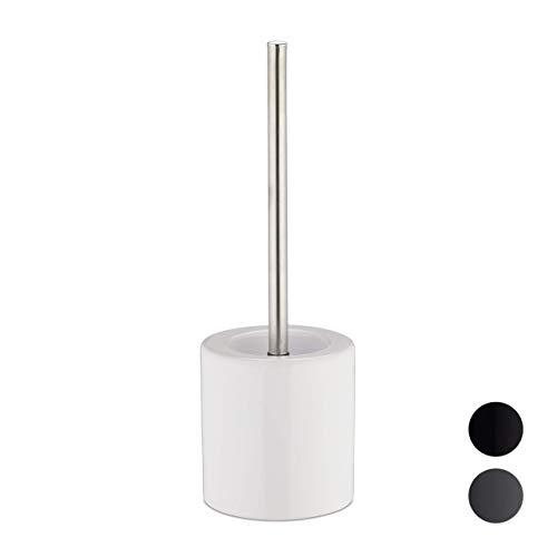Relaxdays, weiß WC Garnitur Keramik, runder Klobürsten-Halter, wechselbarer Bürstenkopf, Bad-Set, HxD 38,5 x 12,5 cm