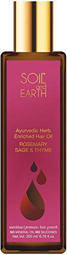 Glamorous Hub Soil and Earth Ayurvedic Hair Oil Romero y tomillo 200 ml (el envase puede variar)