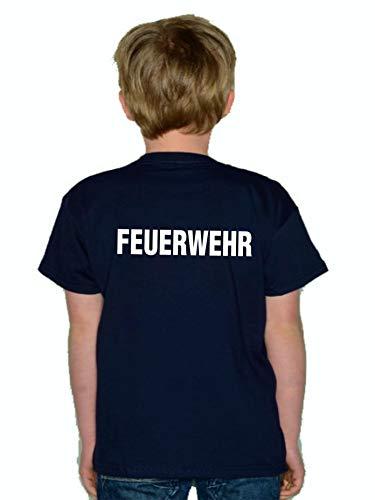 Feuer1 T-shirt pour enfant Navy (deux côtés) Blanc 104 cm bleu marine