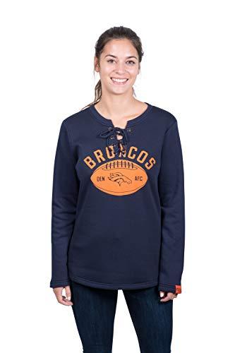 Ultra Game NFL Denver Broncos Womens Fleece Long Sleeve Lace -Up Sweatshirt, Team Color, X-Large