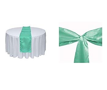 Elina Home Mint Satin 5 Table Runner & 25 Combo of TableRunner & Chair Bow Sash for Wedding