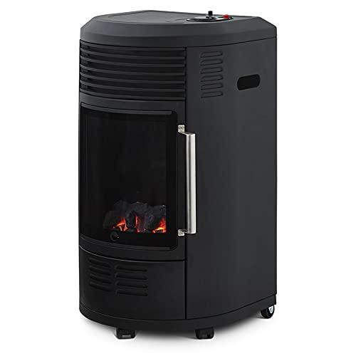 Favex - Chauffage d'appoint à gaz Volga - Infrableu effet feu de cheminée - 6 puissances de chauffe Thermostat - Jusqu'à 40 m2 - Noir
