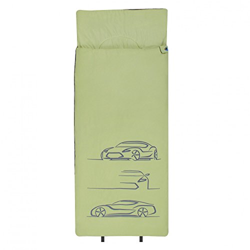 10T Kinderschlafsack CAR 180x75 XL Deckenschlafsack 300g/m² Auto Rennwagen Schlafsack Grün/Grau