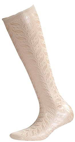 Sympatico Fashion Kniestrumpf AJOUR 20 DEN Color ivory, Size One Size