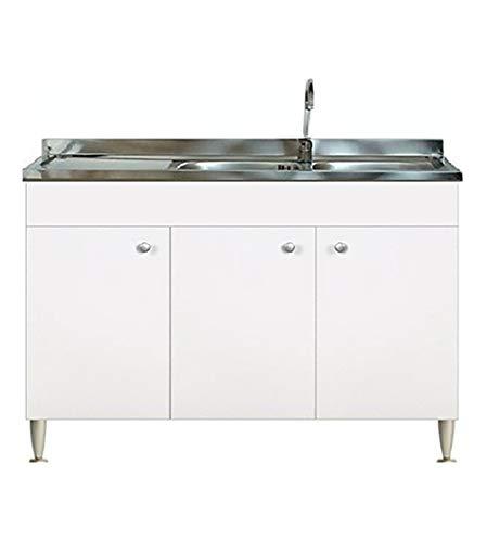 Mueble de cocina para debajo del fregadero modular de 120 cm, tres puertas, con fregadero inoxidable