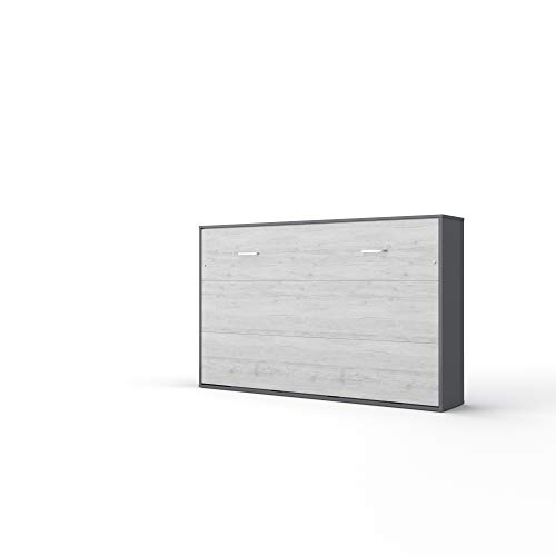 Invento Schrankbett Wandklappbett Horizontal Bettschrank Funktionsbett Gästebett Klappbar Schrank mit integriertem Klappbett Gästezimmer Wohnzimmer Schlafzimmer 120x200 (Grau Matt/Monaco Eiche)