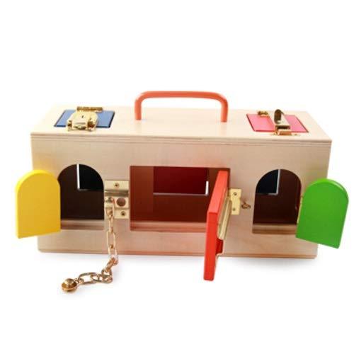 Lihgfw Holz Lernsperre, 10 Arten von Lock Box, Schlüsselverriegelung, Kindergarten Baby Early Education Pädagogisches Spielzeug, Kinderunterrichtsbeihilfe (Color : Natural)