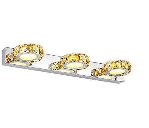 46cm Modern Lámpara LED Espejo Baño Espejo Luz de cristal de 3focos Espejo acrílico de lámpara Lámpara de pared Baño schminkspiegel Color Blanco Frío IP449W 630LM [Clase energética A + +]