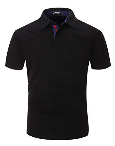 Kuson Herren Poloshirt Kurzarm Patchwork Sommer T-Shirt Men\'s Polo Shirt Baumwolle (3XL, SchwarzA)
