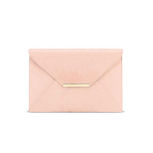 Anna Smith Bolso de embrague con correa, Bolso de noche de embrague de sobre con correa de cadena extraíble Boda Bolso de fiesta de graduación con bolsillo de luz rosa