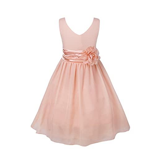 iEFiEL Mädchen Kleid Festlich Hochzeit Partykleid Tüll Festzug Kleidung Brautjungfer 92 104 116 128 140 152 164 Koralle Rosa 104-116