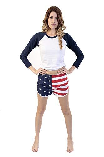 UZZI Women's American Flag Side Split Running Shorts 1830AF S