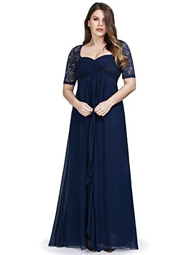 Ever-Pretty Womens Plus Size Chiffon Mother of The Grrom Evening Dresses for Women Navy Blue US 16