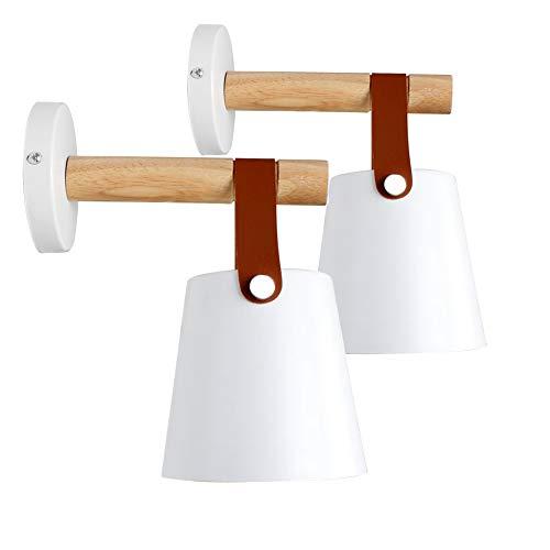 E27 Metallo Lampada da Parete Moderne Lampada Muro Dipinta Applique da Parete Lampada Muro Perfetto per Camera da Letto, Soggiorno, Bagno, Corridoio, Scale (Bianco) (Bianca 2X Applique)