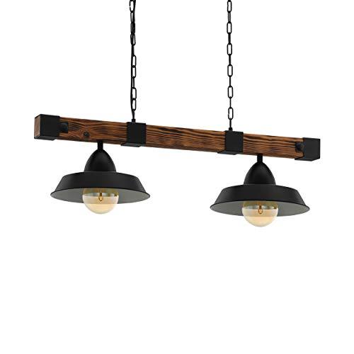 EGLO Pendellampe Oldbury, 2 flammige Vintage Pendelleuchte im Industrial Design, Hängelampe aus Stahl und Holz, Farbe: schwarz, braun rustikal, Fassung: E27, L: 86 cm