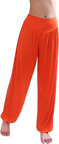 Hoerev Pantalón ancho de Yoga, tejido elástico muy suave - Anaranjado -