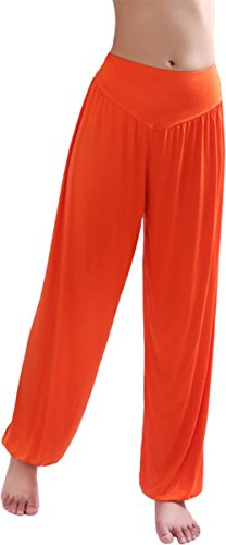 HOEREV Super weiche Modal Spandex Harem Yoga Pilates Hosen, Gr.-Medium,Orange