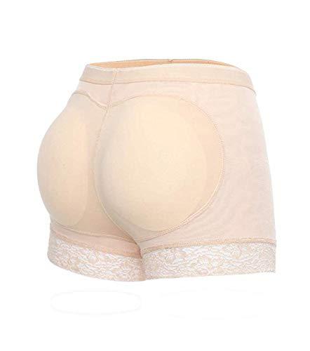 SLIMBELLE Mujer Bragas con Relleno Braguitas Moldeadoras Fajas Levanta Glúteos Encaje Embellecer Cadera Lencería Body Moldeadors Pantalones (Beige, Small (Fit Hip 84~89 cm))