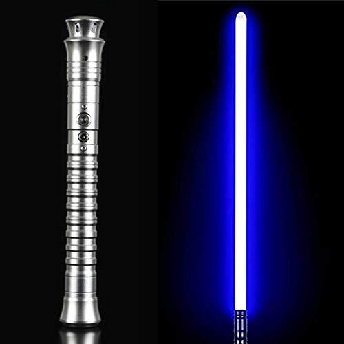 NENGGE Jedi Sentinel Dueling Light Sables, Adultos Heavy Dueling Force FX Metal Hilt Lightsaber Iluminado y 2 Tipos de Efectos de Sonido,Plata,Ice Blue