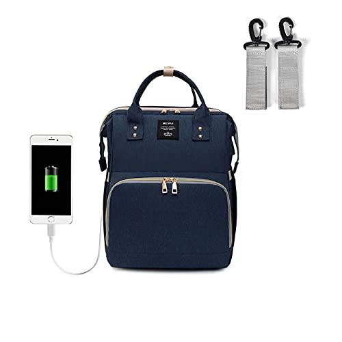 4 mochila de bolsa de pañales IN1 para niña y niño, multifunción Bolsa de bebé de gran capacidad con la estación de cambio, Mamá impermeable plegable Paquete trasero de viaje con mosquitera de sombril