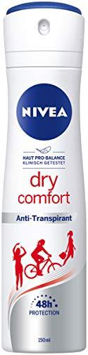 NIVEA Dry Comfort Deo Spray (150 ml), Antitranspirant mit sanft-femininen Duft, 48h Deodorant mit antibakteriellem Schutz