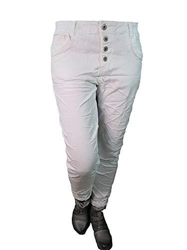 Lexxury Baggy Boyfriend dames stretch broek jeans open knoopsluiting