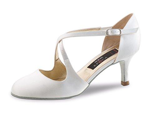 Nueva Epoca - Damen Brautschuhe/Ballschuhe/Tanzschuhe India LS - Satin Weiß - 6 cm Absatz - Mit Straßensohle [UK 7,5]