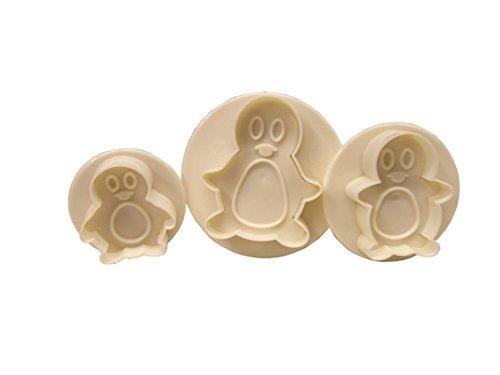 Lot de 3 emporte-pièces en forme de pingouin.