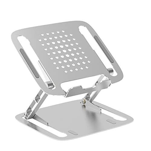 DTKJ Soporte de aluminio plegable para portátil con función de enfriamiento, compatible con todos los portátiles MacBook de 11 a 17 pulgadas, color negro plateado