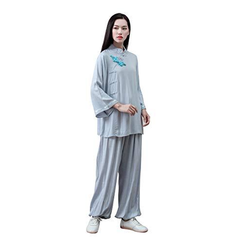 KSUA Damen Kung Fu Uniform Tai Chi Anzug Baumwolle Kampfsportanzug Zen Meditation (Hellblau, EU L)