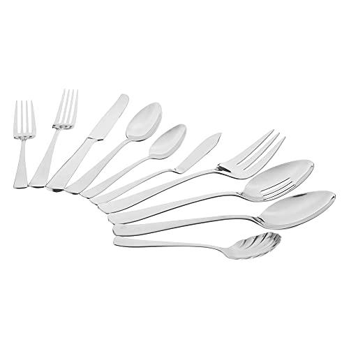 AmazonBasics 65-Piece Stainless Steel Flatware Silverware Set
