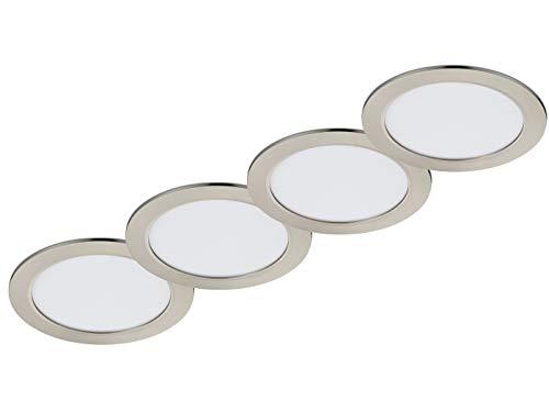 Lot de 4 spots LED ronds encastrables - Diamètre : 22,5 cm - Intensité variable en continu (sur installation domestique) - Nickel mat - 18 W - Plafonnier moderne et sobre.