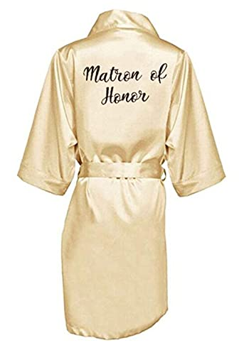 IAMZHL Bata de Dama de Honor de Novia con Letras Blancas Negras Madre Hermana de la Novia Regalo de Boda Albornoz Kimono Batas de satén-a145-M