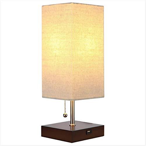 Lámpara de mesa china lámpara de noche lámpara de cama moderna minimalista sala de estar de estudio lámpara hotel hotel usb cargar mesa lámpara