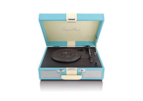 Classic Phono TT-33 koffer-platenspeler in retro-stijl, kunstleren oppervlak, AUX-ingang, RCA-line-uitgang blauw