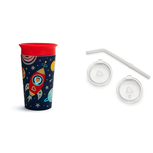 Munchkin Miracle 360 Glow in the Dark Sippy Cup, 9 Ounce, Astronaut and 3pc Sipper and Straw Lid