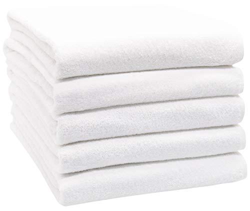 ZOLLNER 5er Set Badetücher, 100x150 cm, 100% Baumwolle, 450 g/qm, weiß