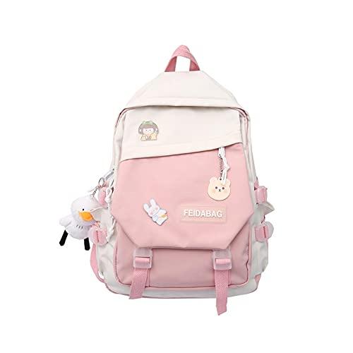 Super super nueva gran capacidad kawaii patchwork mujeres bagpack niñas mochila viaje pato colgante kawaii hombro bolsa