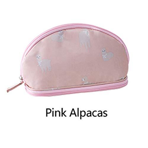 Make-up tas Mini Draagbare Mode Mooie Toilettas Reizen Schoonheid Cosmetica Pouch Opbergtas (Kleur: Roze Alpaca)