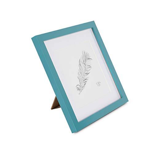 Marco de Fotos 25 x 25 cm con Paspartú para foto de 18 x 18 cm - Madera de Pino - 1 Marco - Grosor del Marco 2 cm - Frente de Cristal Templado - Color Verde Azulado