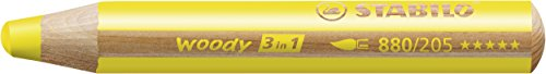 STABILO Woody – Lápiz de color multifuncional – Lápiz de color, cera y acuarela – Estuche con 6 colores