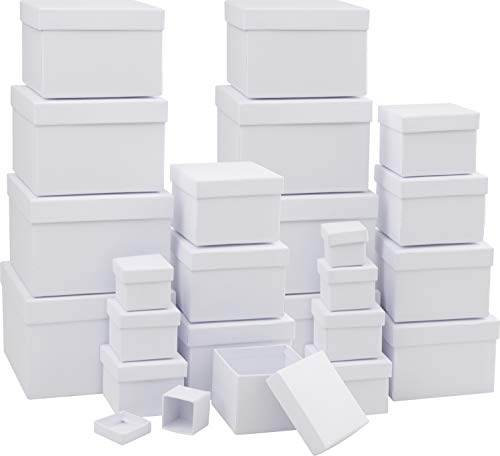 VBS 24er Pack Geschenkschachteln, Adventskalender, Pappkarton, Aufbewahrungsbox, Geschenkbox quadratisch verschiedene Größen