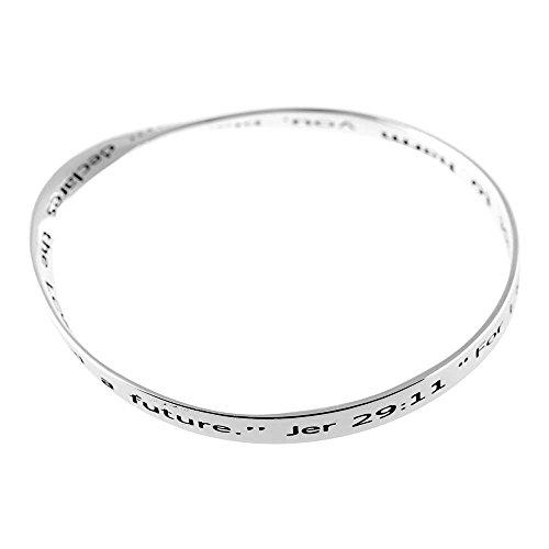 Dicksons for I Know The Plans I Have for You Mobius Silver-Plated Women's Bangle Bracelet