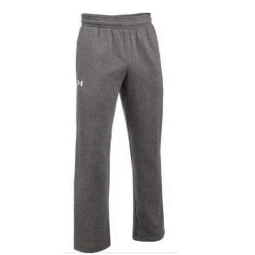 Under Armour Hustle Fleece Pants, Carbon Heather (090)/White, Youth Small