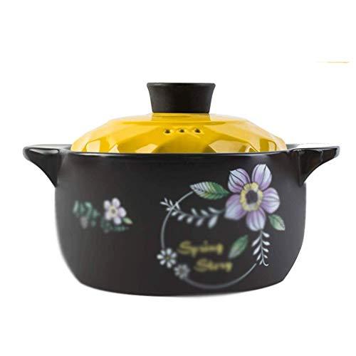 YLJYJ Patrón Cazuela de Plato Negro Redondo de cerámica/Olla de Barro/Olla de Barro/Utensilios de Cocina de cerámica con Tapa Resistente al Calor (Color: A, Tamaño: 27,4 cm * (Exterior)