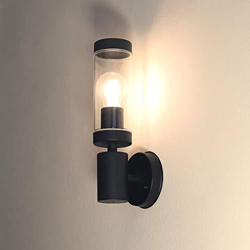 HLFVLITE Lámpara de pared exterior industrial Vintage Lámpara de pared exterior impermeable Luz de montaje en pared, Max 11W E27 Bombilla Aplique exterior IP44 Luz de jardín negra impermeable