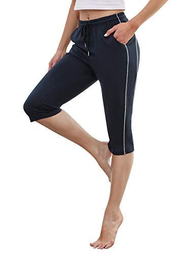 Doaraha Pantalones Piratas Mujer 3/4 Pantalones Capri Casual Pantalon Deporte con Cordón para Verano,Correr,Yoga,Dormido,Aptitud,Danza(Tallas Grandes)