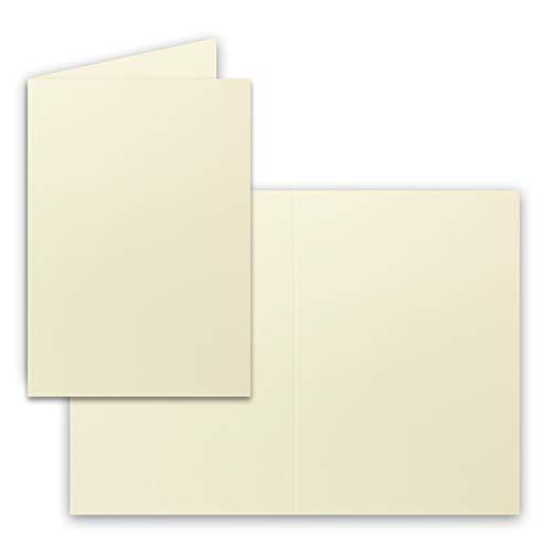 50x Falt-Karten DIN A6 in Vanille - Blanko - Doppel-Karten - 240 g/m²